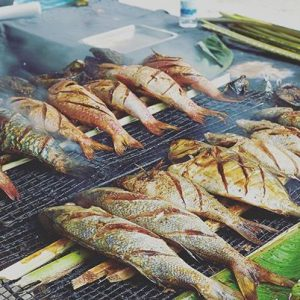 Grilled fish on the beach of Beau Vllon