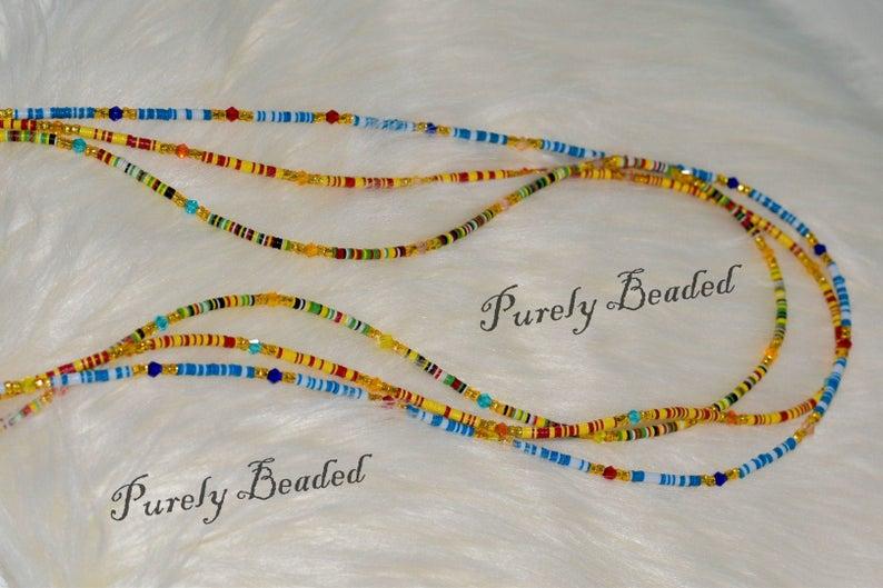 1 Set of 3 Kente Waist Beads- Recycled Handmade