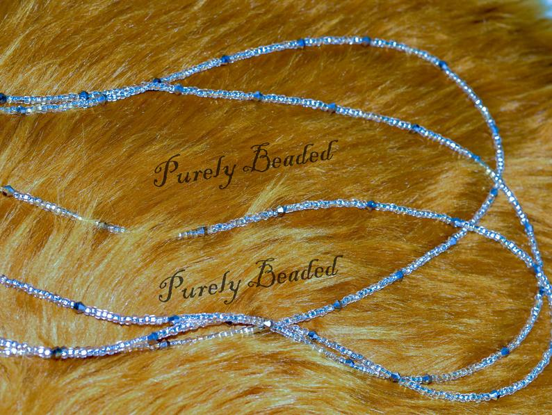 1 set of 3 silver/golden glass seed beads