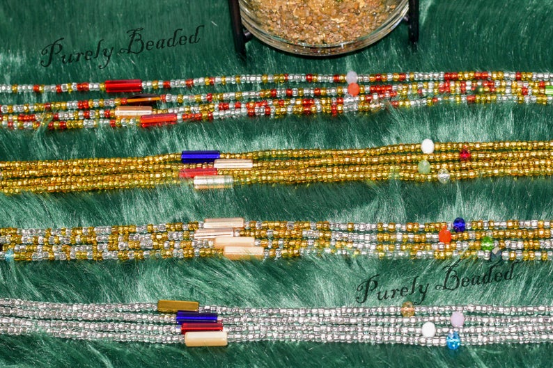 1 set of 4 Butterfly waist beads with a mix of glass seed, crystal, and gemstone