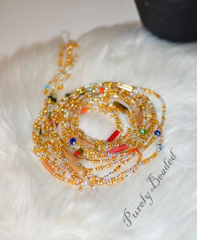 . African Crystal Waist beads Glass Seed beads. Waist beads