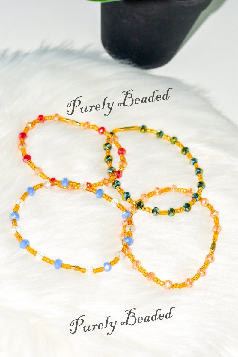 Handmade Recycled Anklets with crystal beads