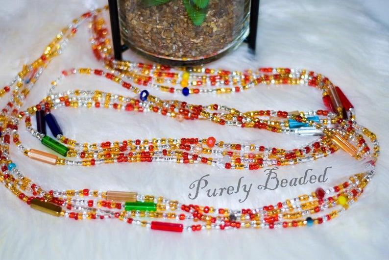 Handmade Waist Beads - Recycled Crystal Beads