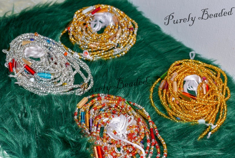 Recycled Butterfly Waist/Belly beads with a mix of Glass seed, Crystal, and Gemstone Euros